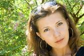 Summer garden flower beautiful woman romantic look — Stock Photo