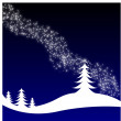 Winter Christmas landscape with fir tree — Imagen vectorial