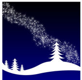 Winter Christmas landscape with fir tree — Stock Vector