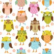 Stock Vector: Seamless pattern with cute cartoon birds