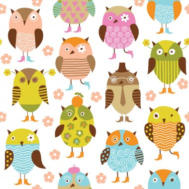 Seamless pattern with cute cartoon birds