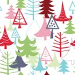 Seamless background with various Christmas trees - Stock Vector