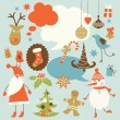 Royalty-Free Stock Vector Image: Christmas background, collection of icons