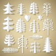 Cutting Christmas trees of white paper — Stok Vektör