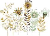 Blommig illustration, hand ritning — Stockvektor