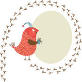 Cute bird with little present, Greeting card with place for your text — Stock Vector
