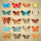 Set of butterflies with different texture — Stock Vector