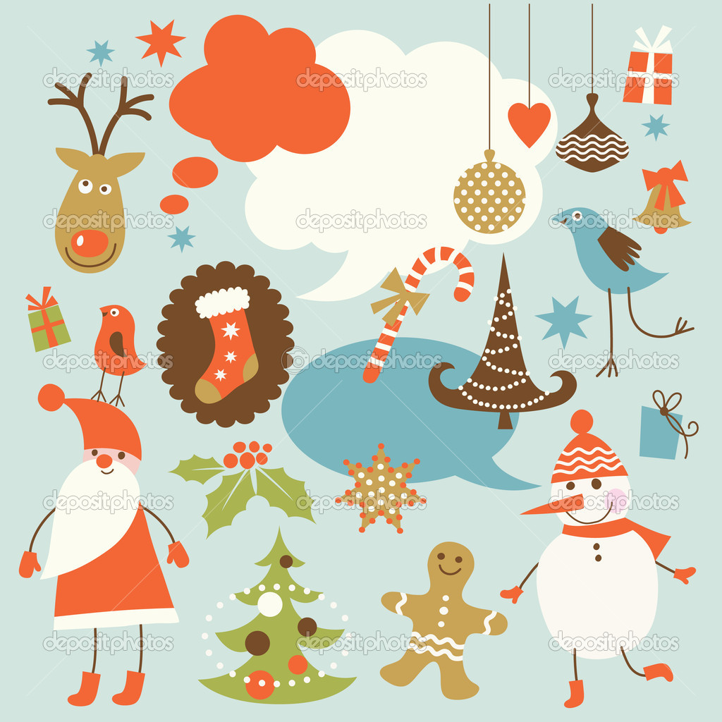 Christmas background, collection of icons — Stock Vector #7551378
