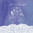 Christmas card with funny snowman - Stock vektor