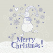 Christmas card with funny snowman — Stock Vector