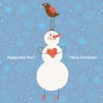 Vector bonhomme de neige et oiseau, illustration de Noël — Vecteur