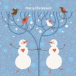 Two funny snowman — Stockvectorbeeld