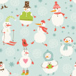 Seamless background with cute snowman, set of holiday's elements — Stock Vector