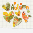 Autumn vector elements, collage — Stock Vector