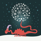 Cute snowy dragon for greeting christmas card — Stock Vector