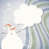 Muñeco de nieve y discurso burbuja — Vector de stock
