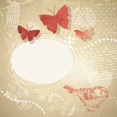 Abstract background with butterflies and floral elements — Stockvektor