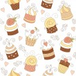 Seamless pattern with cute cupcakes — Stock Vector