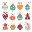 Stock Vector: Set of cute christmas balls