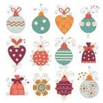 Set of cute christmas balls — Stock Vector