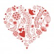 Floral heart, valentine's day card — Image vectorielle
