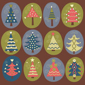 Милые новогодние елки — Cтоковый вектор