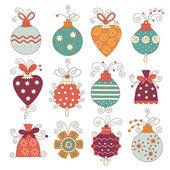 Conjunto de bolas de natal bonito — Vetorial Stock