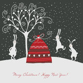Christmas and New year's greeting card — Stockvector