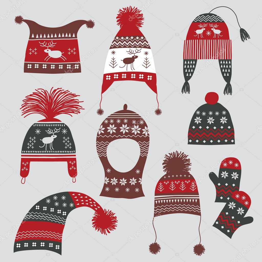 Winter hats with nordic ornament — Stock Vector © Elena Lishanskaya #