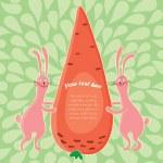 Cartoon rabbits and big carrot — Stock Vector