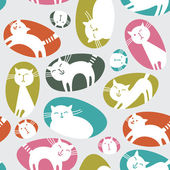 Seamless pattern with cute cats — Stock Vector