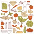 Set of food, vector illustration — Stock Vector