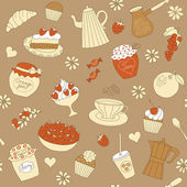 Seamless pattern with elements of dessert — Stock Vector