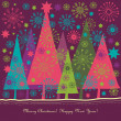 Christmas and New Year's greeting card — Imagen vectorial
