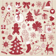 Stock Vector: Christmas hand-draw elements
