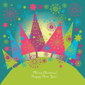 Christmas and New Year's greeting card — Stock Vector