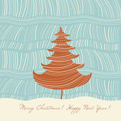 Christmas tree, Christmas and New Year's greeting card — Vettoriale Stock