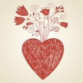 心と花 — ストックベクタ
