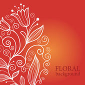 Red floral background — Stock Vector