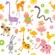 Seamless pattern with cute animals — Stock Vector