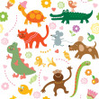 Seamless pattern with cute animals — Stock Vector #7945068