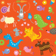 Royalty-Free Stock 矢量图片: Seamless pattern with cute animals