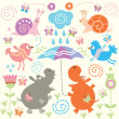 Seamless pattern with cute animals — Stok Vektör