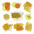 Set of Autumn elements - Stock Vector