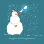 Christmas snowman, vector illustration — Stock Vector