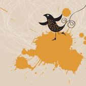 Grunge arka plan ile kuş — Stok Vektör