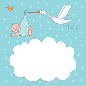 Baby jongen aankomst aankondiging kaart — Stockvector
