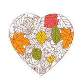 Autumn background, leaves in a shape of heart — Stock Vector