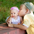 Royalty-Free Stock Photo: Brother sister kissing