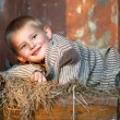 Royalty-Free Stock Photo: Boy rests upon straw
